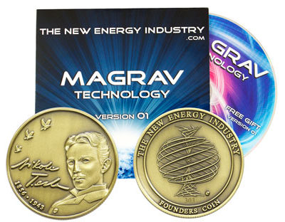 Nikola Tesla (tribute) Founders Coin 303 with Magrav Technology V01 CD
